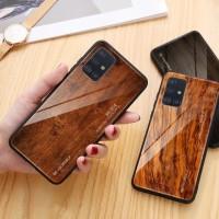 WoodGrain Glass Case Samsung Galaxy A71 SamsungA71 Back Cover Casing