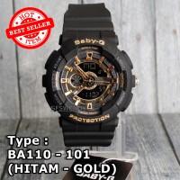 Baby-G Shock BA-110 hitam gold Jam tangan digital anti air wanita pria