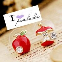 Anting Kristal Apel Asimetris Red Drops Asymmetric Apple Stud Earring