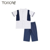 Torio Baju Anak Koko Muslim Formal Blue Set - Baju Koko Setelan Anak