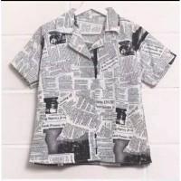 kemeja koran vintage atasan wanita hem shirt newspaper paper