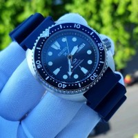 Jam Seiko PADI Prospex Turtle Blue Rubber Automatic Watch 4.2cm Ori BM