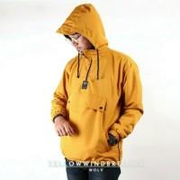 Jaket Pria Wanita Windbraker Hangout Baju Hangat Sporty Hoodie- Orange