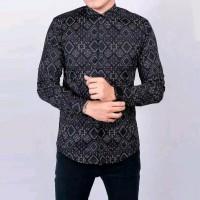 Baju Kemeja Pria Batik Songket Diamond Modern Slimfit Casual hitam - Hitam, XL
