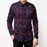 Baju Kemeja Batik Songket Pria Lengan Panjang Ungu Slimfit Casual