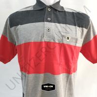 BALOK BXL- 20 (XL) - Kaos Polo Shirt Salur Pria Saku / Wangki Kerah - Abu-abu, XL