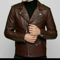 jaket kulit domba warna coklat model terlaris