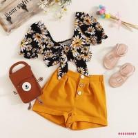 ♬MG♪-Toddler kid Girls Clothes Daisy Tops Crop Shorts Pants