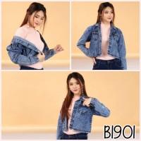 Baju outerwear jaket jeans crop denim cewek / wanita pendek pergi