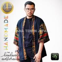 Outer Kimono Pria Tenun Etnik Kombinasi Hitam S, M, L, XL, XXL