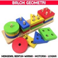 Mainan Edukasi Anak Basic Shape Kayu Balok Geometri Bentuk Warna