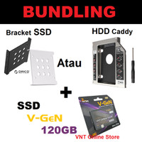 PAKET BUNDLING SSD 120GB SATA3 V-GEN + HDD Caddy 9.5mm / 12.7mm 120 GB