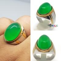 cincin batu natural green chalsedony garansi natural