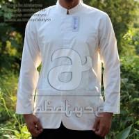 Baju Koko Kerah Al-Habib Lengan Panjang Putih Polos