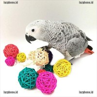 Rattan Colorful Pet Bird Claw Chew Toys Parrot Swing Ball Cage Pa