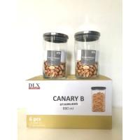Toples Kaca Canary B Stainless Ukuran 880ml (Set 6 pcs)