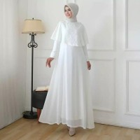 Mall.Fei Gamis Putih Wanita Brukat Baju Muslim Lebaran Pesta Akad