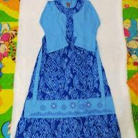 baju muslim anak gamis keke size 11 batik biru