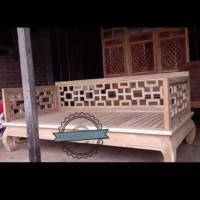Kursi bangku panjang ukuran 200x100cm bale bale jati mentahan