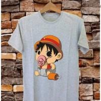 T-shirt Fat Luffy / Baju Kaos Distro Pria Wanita Cotton 30s