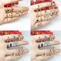 Perhiasan Anting Wanita Xuping Silver Gold Batu Biru Jalar Rambat