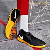Sepatu Futsal Nike Lunar Gato II IC dark Smoke Grey Yellow Original 58