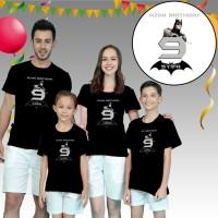 Kaos / Baju couple ulang tahun ayah ibu anak, BATMAN,murah,gratis nama
