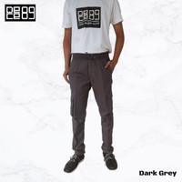DECE89 - Celana Panjang Karet Rib Cargo Unisex Slimfit - Abu Tua - Dark Grey, M