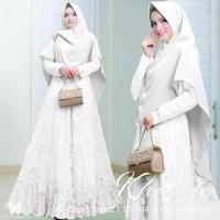 Gamis Syari Wanita Baju Pesta Cewek Terbaru Gaun Pengantin Terbaru - Putih