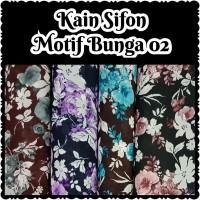 Kain Sifon chiffon motif bunga 02 bahan halus meteran