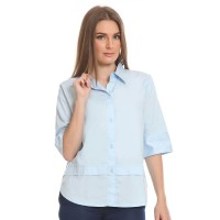 Basix - Janette Blue Shirt - Kemeja Wanita Bahan Katun Biru