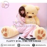 Boneka Teddy Bear FLUFFY SYAL MEGA JUMBO 2 METER WARNA CREAM