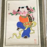 Souvenir lukisan baby hoki gantungan dinding silk painting dari china