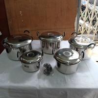 Panci Stainless Steel Dua Gagang Set 5 cap 555 Made in India