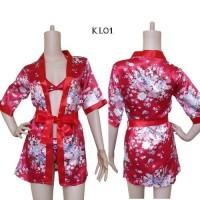 Kimono Lingerie Seksi Lingeri Sexy Baju Tidur Wnita Set Bra Merah KL01