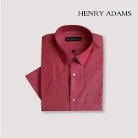 Kemeja Pria Lengan Pendek Henry Adams Chill Red/Blue