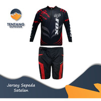 Jersey Sepeda Gowes Motor Cross Roadbike Setelan Celana I052 - Baju Hitam M, Celana M