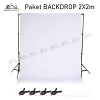 Paket Background / Backdrop Studio Photo 2x2M WHITE Screen - Foto