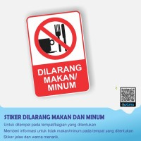 STIKER DILARANG MAKAN DAN MINUM UKURAN 10 X 15 CM