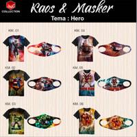 Baju Kaos anak Cowok dan Masker Fullprint
