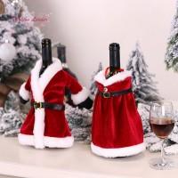 FL 1Pc Penutup Botol Anggur Bentuk Baju/Dress Santa Bahan Velvet 2