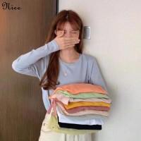 Wanita T-shirt Rajutan Musim Gugur Baru Korea Pasang Joker Longgar