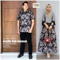 Baju batik couple gamis anak muda model modis kombinasi