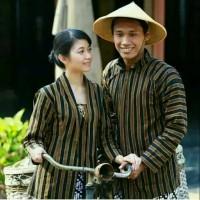 Baju Adat Jawa Couple/Surjan+Kebaya Lurik Tradisional / Baju Khas Solo