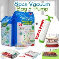 Vacuum Bag Jumbo isi 8 + FREE Pompa / Plastic Vakum Bag Travel - X478