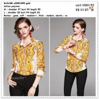 AB951895 Baju Atasan Kerja Kemeja Wanita Blouse Korea Import Gold