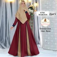 4883 gamis wanita muslimah jumbo bumil busui merah maroon grosir murah