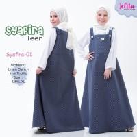 Syafira 01 Tanpa Jilbab Baju Muslim Overall Gamis Remaja Syafira Navy