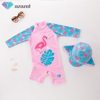 Kids Girls One-pieces Long Sleeve Flamingo Pattern Jumpsuit Muslim