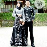 Baju batik couple gamis modern anak muda kombinasi broklat